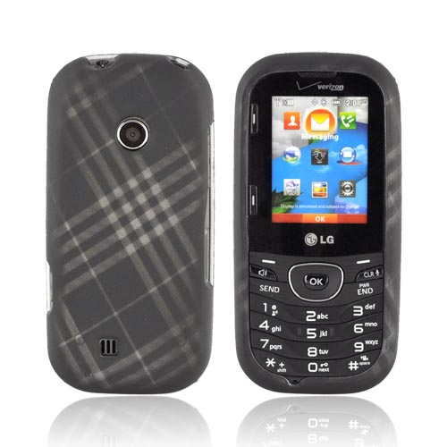 LG Cosmos 2 UN251 Rubberized Hard Case - Gray Plaid on Black