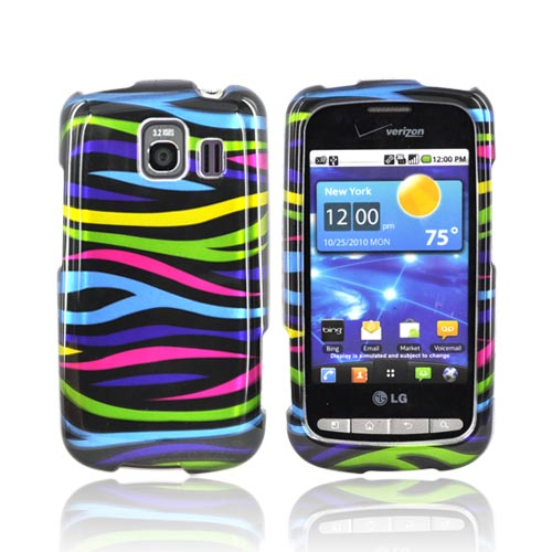 LG Vortex Hard Case - Rainbow Zebra on Black
