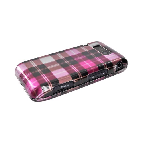 LG Fathom VS750 Hard Case - Plaid Pattern of Hot Pink, Brown, Pink