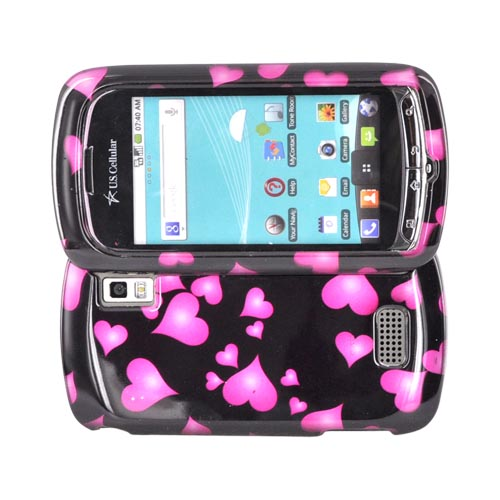 LG Genesis VS760 Hard Case - Pink Raining Hearts on Black