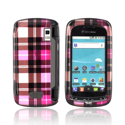 LG Genesis VS760 Hard Case - Plaid Pattern of Pink/ Hot Pink/ Brown/ Gray