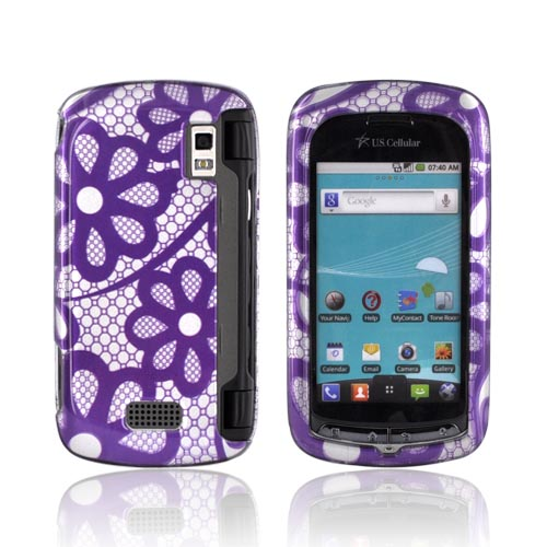 LG Genesis VS760 Hard Case - Purple Lace Flowers on Silver