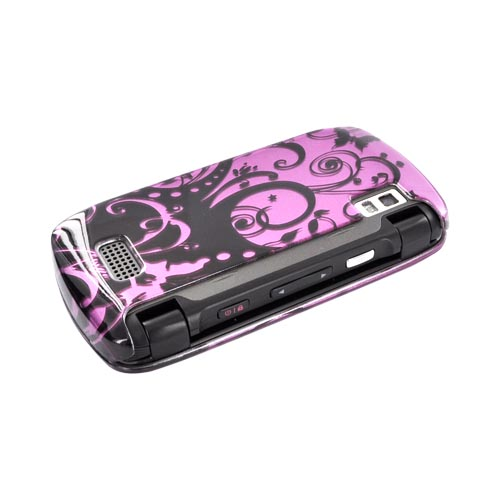 LG Genesis VS760 Hard Case - Black Swirls Design on Purple