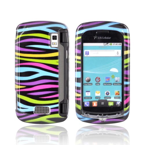 LG Genesis VS760 Hard Case - Rainbow Zebra on Black