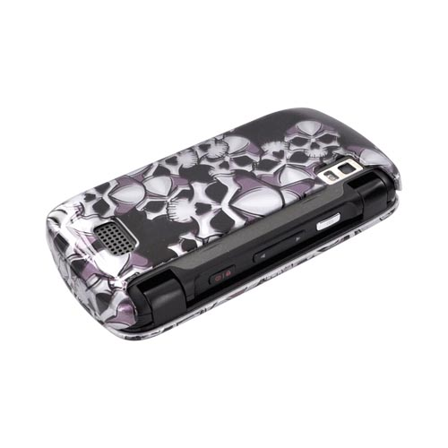 LG Genesis VS760 Hard Case - Silver Skulls on Black