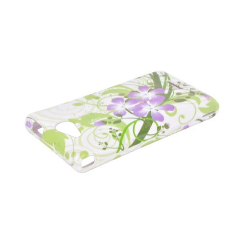 LG Lucid 4G Hard Case - Purple Lily on Green/ White