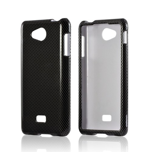 Black/ Gray Carbon Fiber Design Hard Case for LG Spirit 4G (MetroPCS)