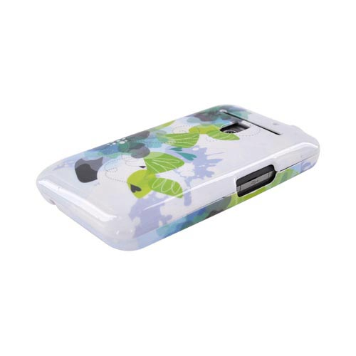 LG Revolution, LG Esteem Hard Case - Green & Blue Flowers on White