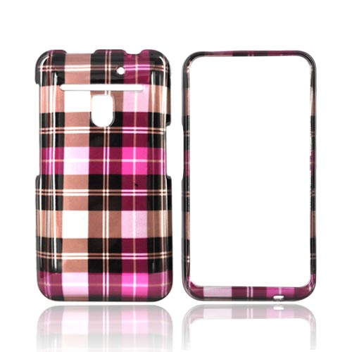 LG Revolution, LG Esteem Hard Case - Pink/ Hot Pink/ Brown Plaid on Silver