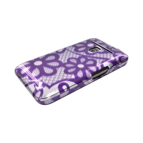 LG Revolution, LG Esteem Hard Case - Purple Lace Flowers on Silver