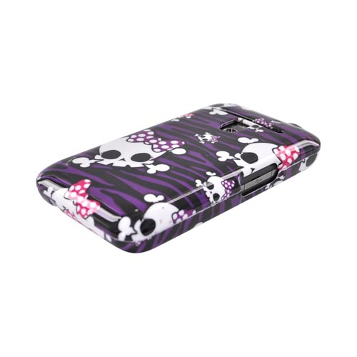 LG Revolution, LG Esteem Hard Case - Skulls w/ Polka Dot Bows on Black Zebra on Purple