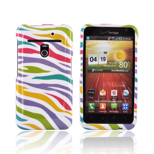 LG Revolution, LG Esteem Hard Case - Rainbow Zebra on White