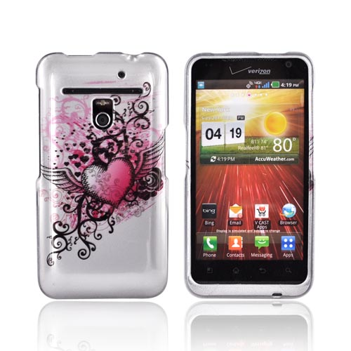 LG Revolution, LG Esteem Hard Case - Red Heart w/ Wings on Silver
