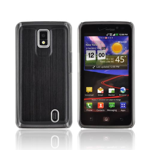 LG Spectrum Hard Back Case w/ Aluminum Back & Clear Bumper - Black