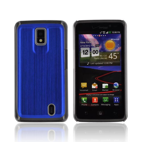 LG Spectrum Hard Back Case w/ Aluminum Back & Clear Bumper - Blue