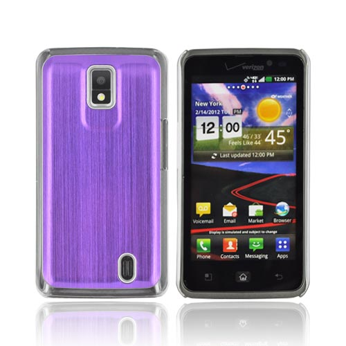 LG Spectrum Hard Back Case w/ Aluminum Back & Clear Bumper - Purple