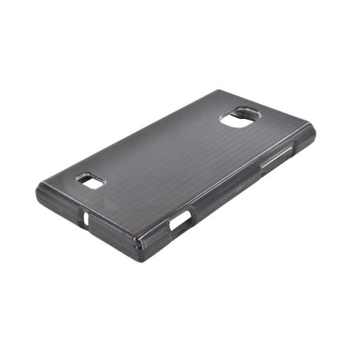 LG Optimus VS930 (Optimus LTE II) Hard Case - Silver Lines on Black