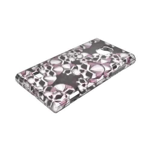 LG Optimus VS930 (Optimus LTE II) Hard Case - Silver Skulls on Black