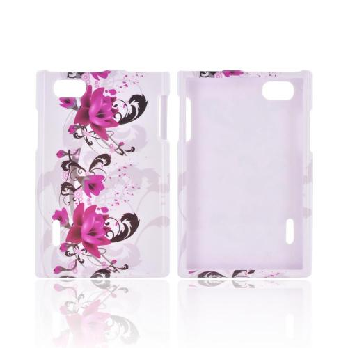 LG Optimus Vu Hard Case - Magenta Flowers & Black Vines on White
