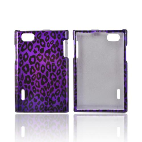 LG Intuition VS950 Hard Case - Purple/ Black Leopard