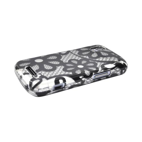 Luxmo Motorola Droid Pro A957 Hard Case - Black Floral Lace on Silver