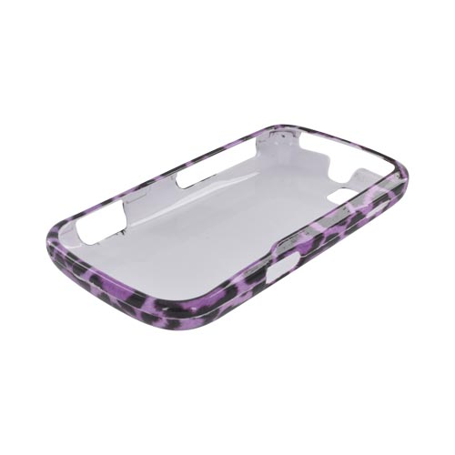 Motorola Admiral Hard Case - Purple/ Black Leopard