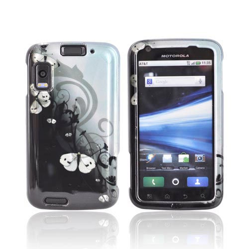 Motorola Atrix 4G MB860 Hard Case - White Butterflies Design on Black