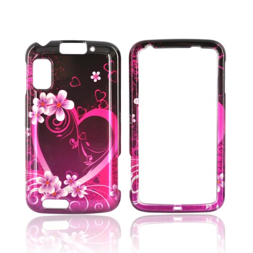 Motorola Atrix 4G Hard Case - Pink Hearts and Flowers on Black