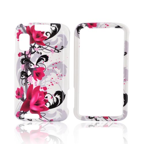 Motorola Atrix 4G Hard Case - Pink Flowers on White