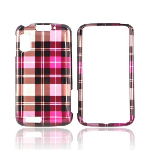 Motorola Atrix 4G Hard Case - Plaid Pattern of Hot Pink, Brown, Silver
