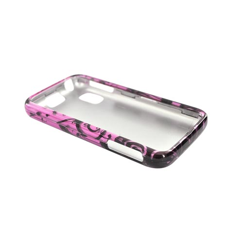 Motorola Atrix 4G Hard Case - Black Swirl Design on Purple