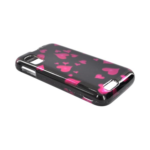 Motorola Atrix 4G Hard Case - Raining Pink Hearts on Black
