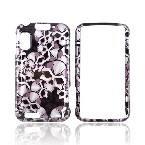 Motorola Atrix 4G Hard Case - Silver Skulls on Black