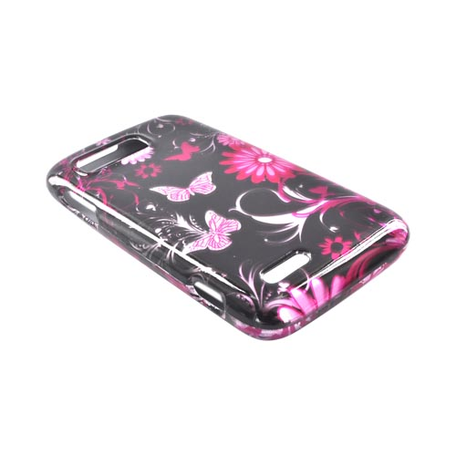 Motorola Atrix 2 Hard Case - Pink Flowers & Butterflies on Black