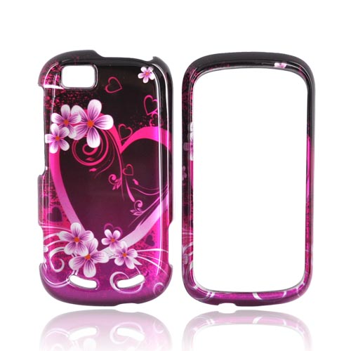 Motorola CLIQ 2 Hard Case - Pink Heart and Flowers on Black