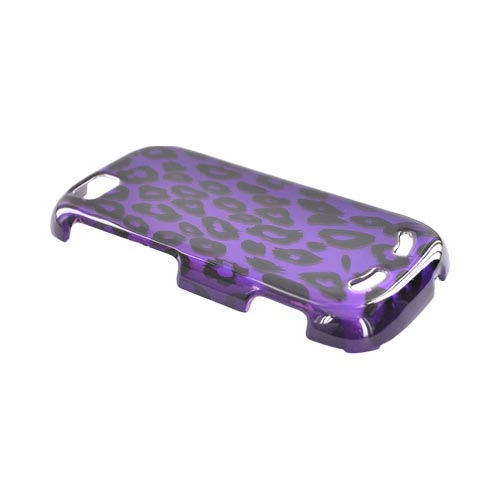 Motorola CLIQ 2 Hard Case - Purple/Black Leopard