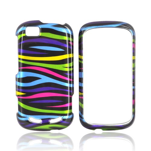 Motorola CLIQ 2 Hard Case - Rainbow Zebra on Black