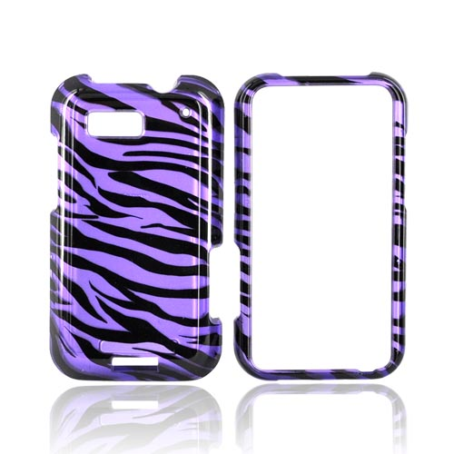 Motorola Defy Hard Case - Purple/Black Zebra