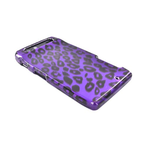 Motorola Droid RAZR Hard Case - Purple/ Black Leopard