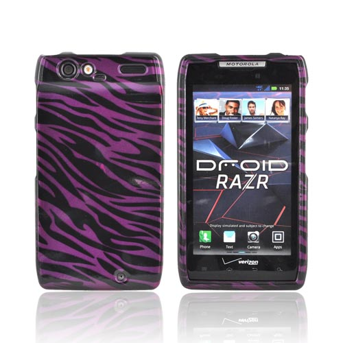 Motorola Droid RAZR Hard Case - Purple/ Black Zebra
