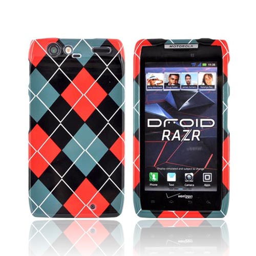 Motorola Droid RAZR Hard Case - Red/ Black/ Gray Argyle
