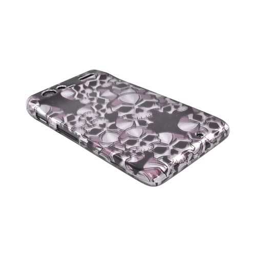 Motorola Droid RAZR Hard Case - Silver Skulls on Black