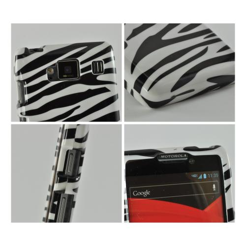 Black/ White Zebra Hard Case for Motorola Droid RAZR MAXX HD