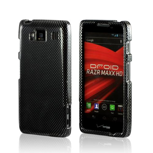 Black/ Gray Carbon Fiber Design Hard Case for Motorola Droid RAZR MAXX HD