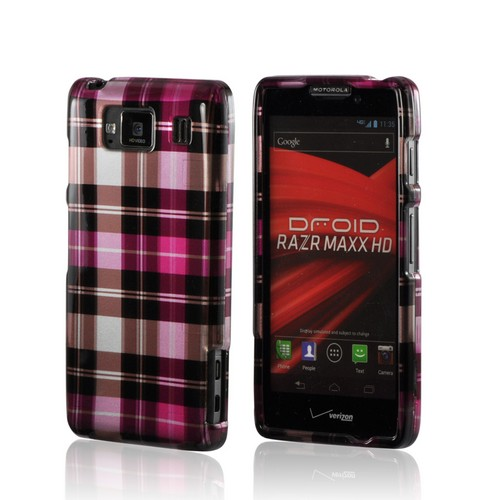 Plaid Pattern of Pink/ Hot Pink/ Brown/ Gray Hard Case for Motorola Droid RAZR MAXX HD