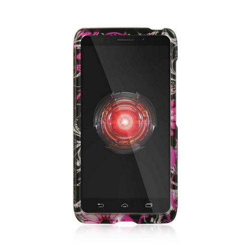 Hot Pink Flowers & Butterflies on Black Hard Case for Motorola Droid Ultra/ Droid MAXX