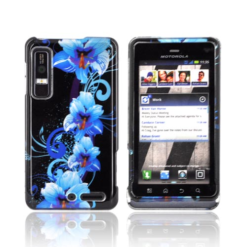 Motorola Droid 3 Hard Case - Blue Flowers on Black