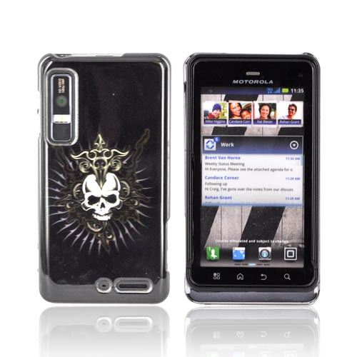 Motorola Droid 3 Hard Case - Cross Skull on Black