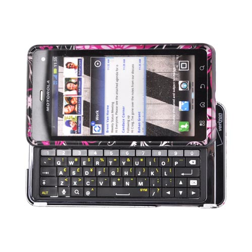Motorola Droid 3 Hard Case - Pink Flowers & Butterflies on Black