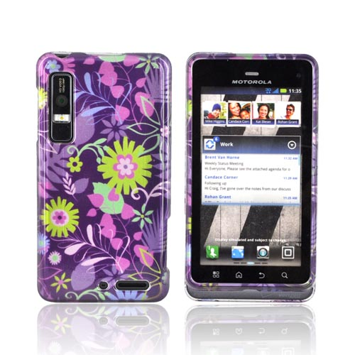 Motorola Droid 3 Hard Case - Green/ Pink Flowers on Purple
